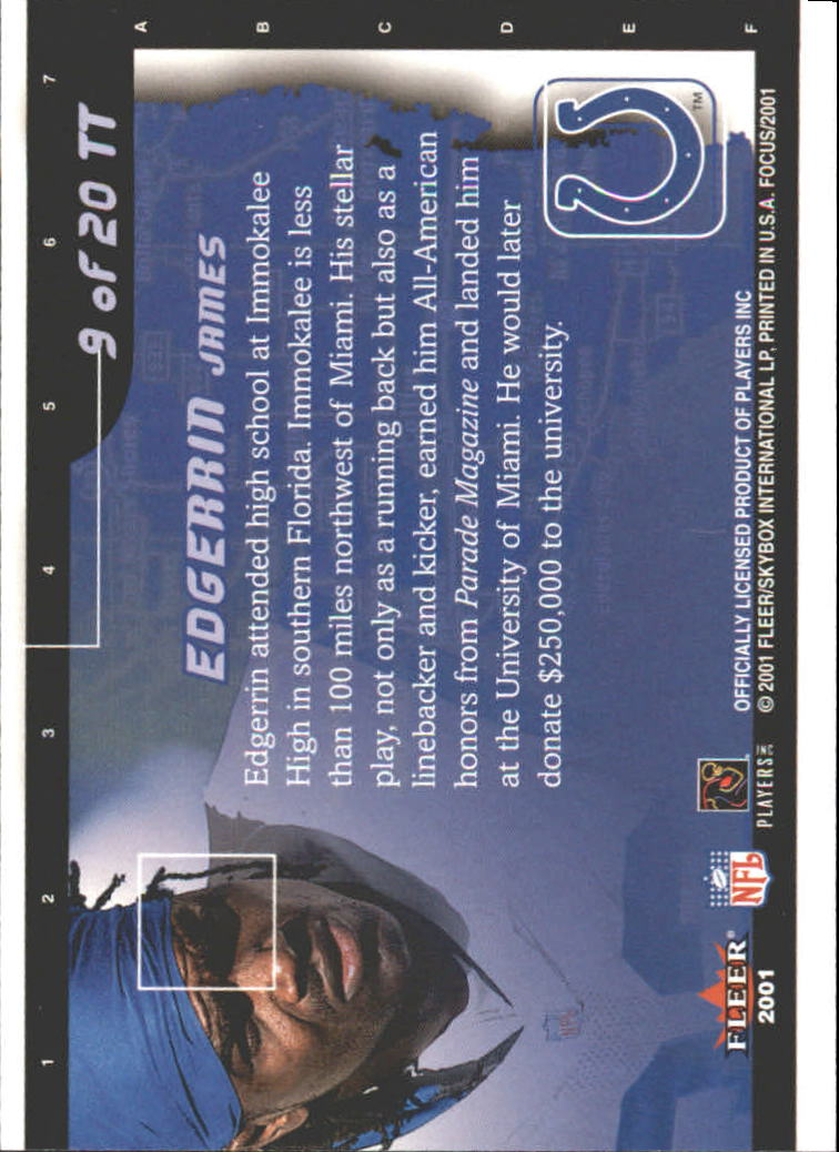 2001 Fleer Focus Toast of the Town #9 Edgerrin James back image