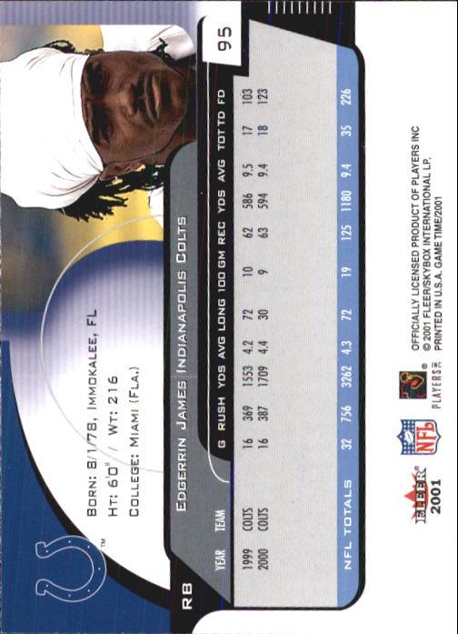 2001 Fleer Game Time #95 Edgerrin James back image