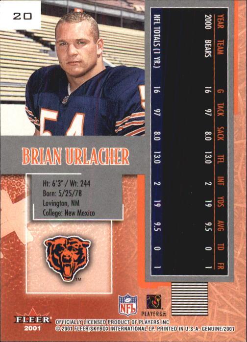 2001 Fleer Genuine #20 Brian Urlacher back image
