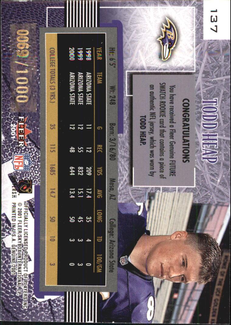 2001 Fleer Genuine #137 Todd Heap JSY RC back image