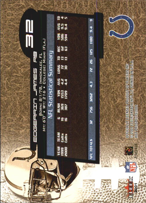 2001 Hot Prospects #32 Edgerrin James back image