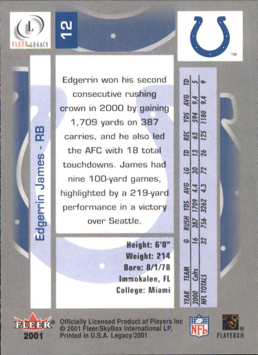 2001 Fleer Legacy #12 Edgerrin James back image