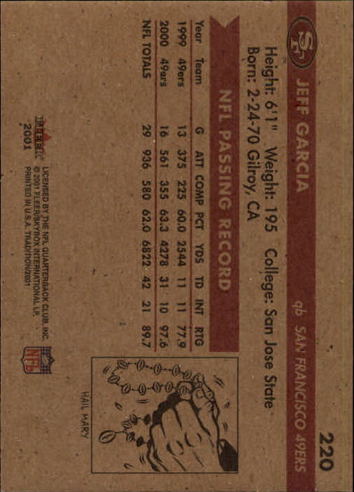 2001 Fleer Tradition #220 Jeff Garcia back image