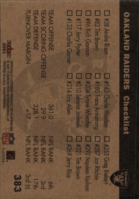 2001 Fleer Tradition #383 Oakland Raiders TL back image