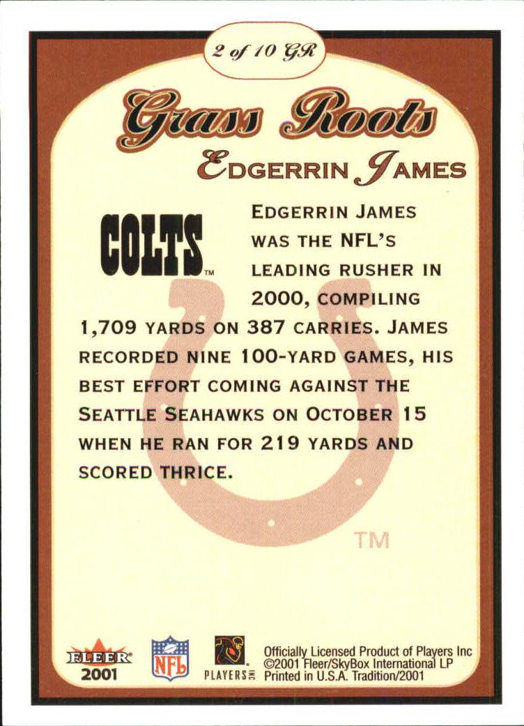 2001 Fleer Tradition Grass Roots #2 Edgerrin James back image