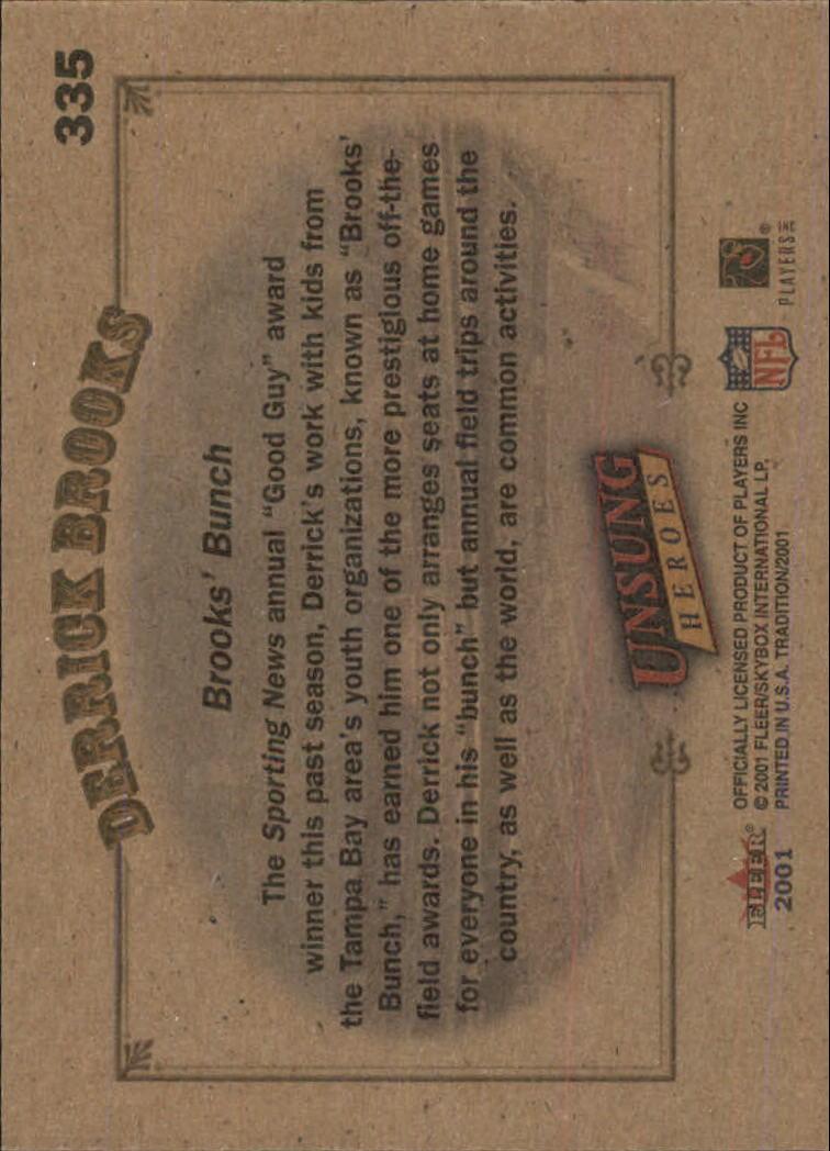 2001 Fleer Tradition Glossy #335 Derrick Brooks UH back image
