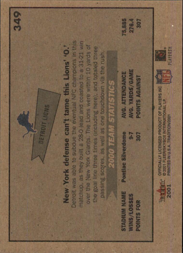 2001 Fleer Tradition Glossy #349 Detroit Lions TC back image
