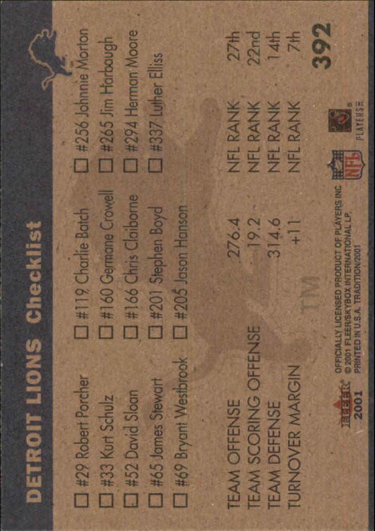 2001 Fleer Tradition Glossy #392 Detroit Lions TL back image