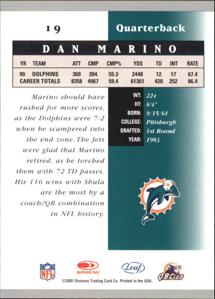 2001 Leaf Certified Materials #19 Dan Marino back image