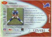 2001 Leaf Certified Materials Mirror Red #137 Mike McMahon FF AU back image