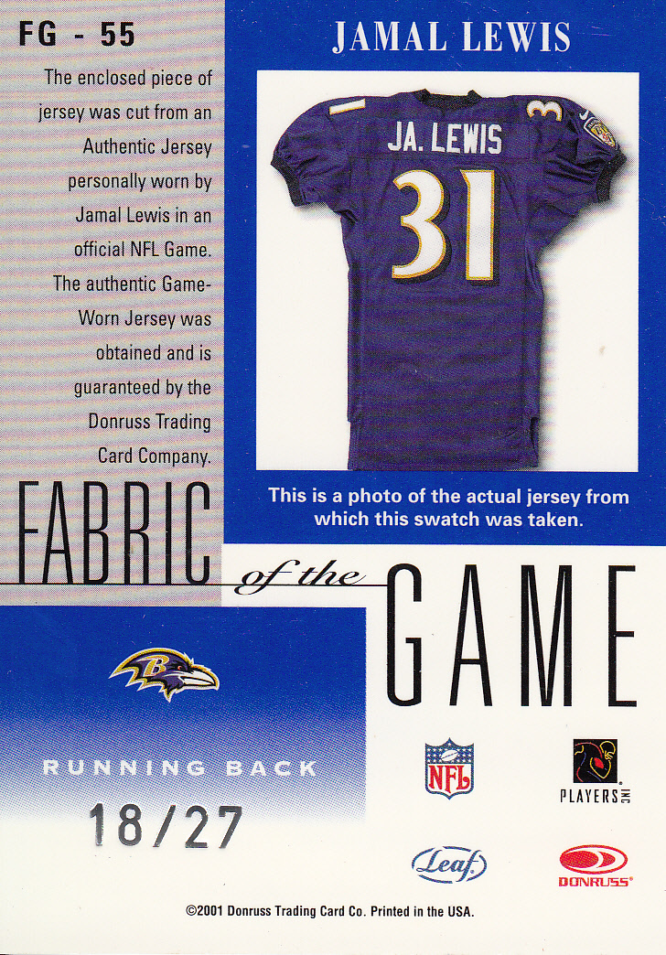 2001 Leaf Certified Materials Fabric of the Game #55CR Jamal Lewis/27 back image