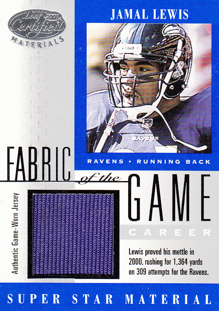 2001 Leaf Certified Materials Fabric of the Game #55CR Jamal Lewis/27