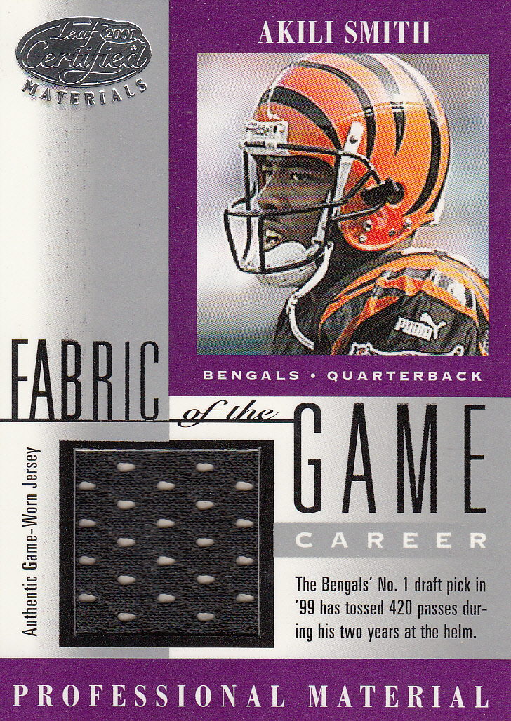 2001 Leaf Certified Materials Fabric of the Game #111CR Akili Smith/198
