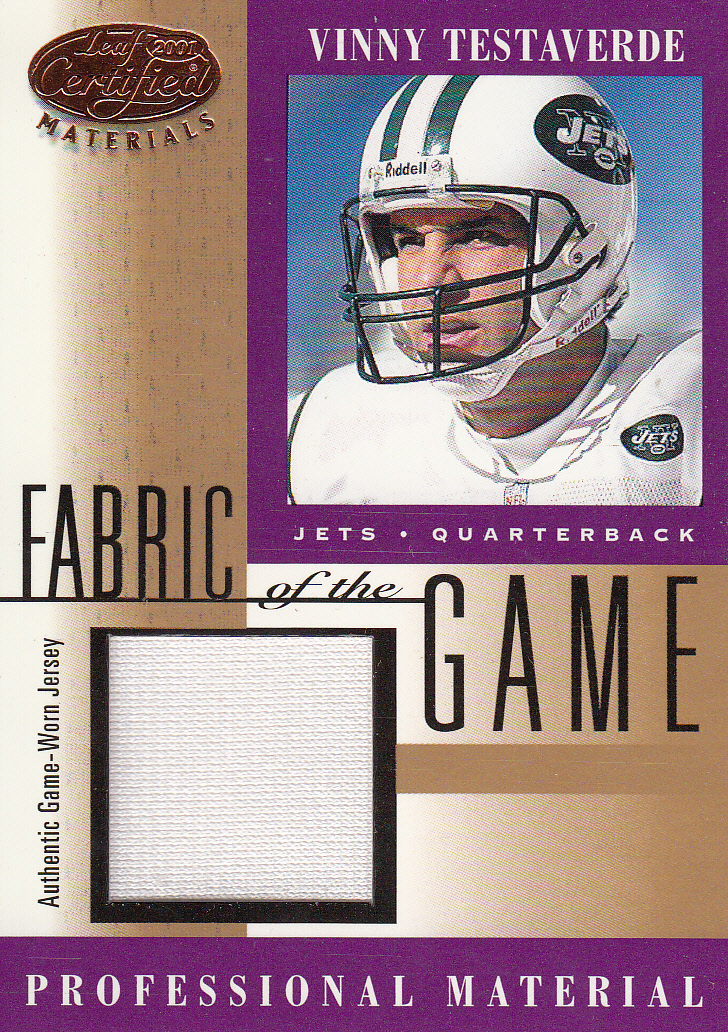2001 Leaf Certified Materials Fabric of the Game #146BA Vinny Testaverde