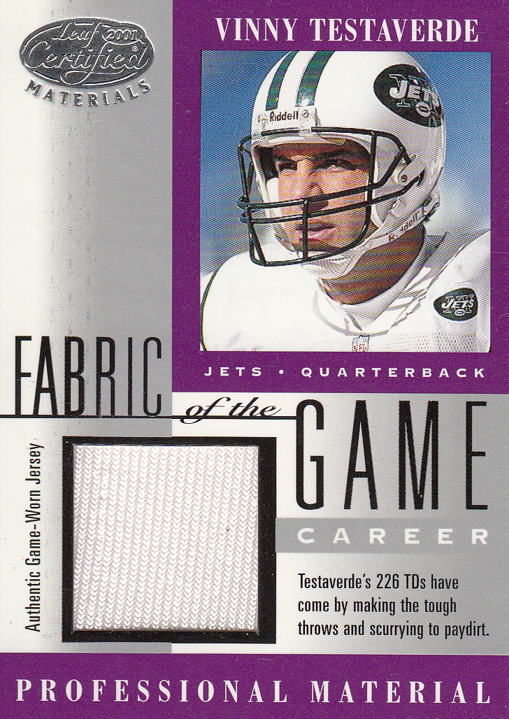 2001 Leaf Certified Materials Fabric of the Game #146CR Vinny Testaverde/226