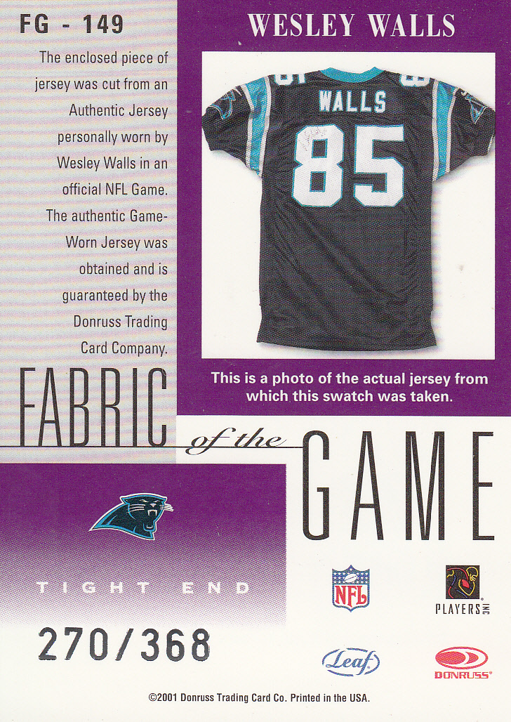 2001 Leaf Certified Materials Fabric of the Game #149CR Wesley Walls/368 back image