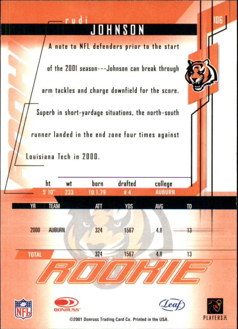 2001 Leaf Rookies and Stars #106 Rudi Johnson RC back image