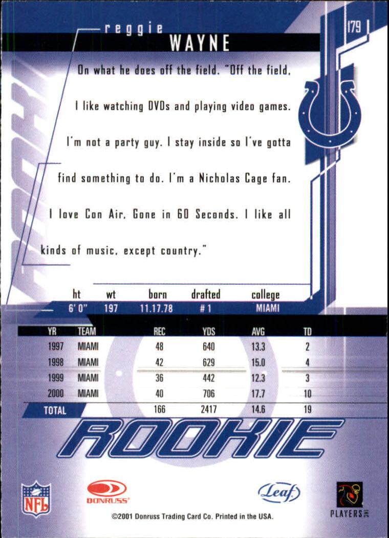 2001 Leaf Rookies and Stars #179 Reggie Wayne RPS back image