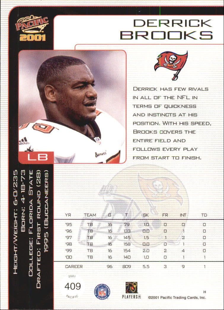 2001 Pacific #409 Derrick Brooks back image