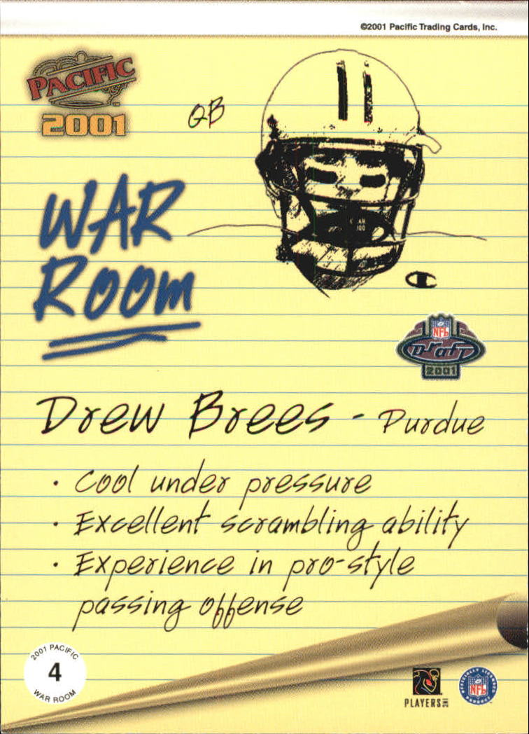 2001 Pacific War Room #4 Drew Brees back image