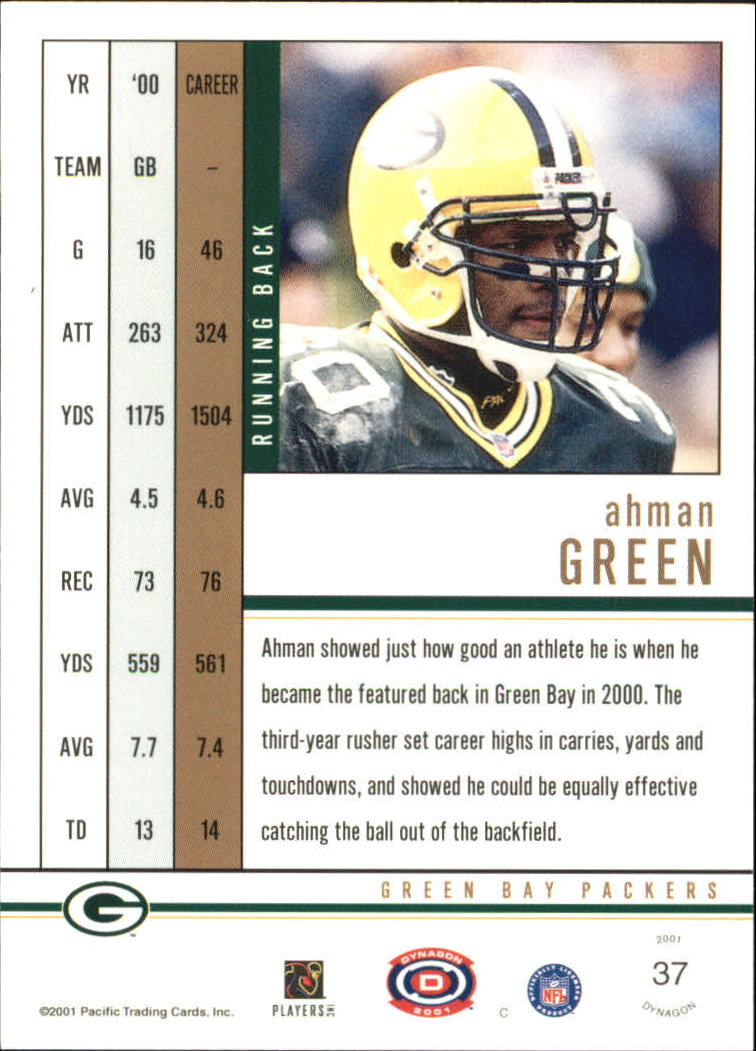 2001 Pacific Dynagon Premiere Date #37 Ahman Green back image