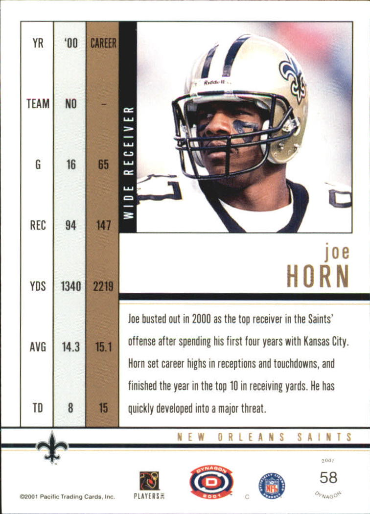 2001 Pacific Dynagon Premiere Date #58 Joe Horn back image