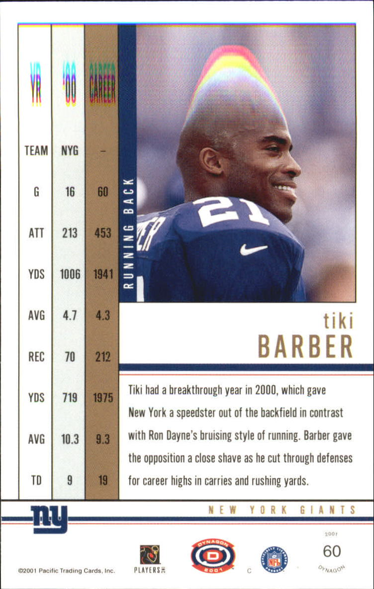 2001 Pacific Dynagon Premiere Date #60 Tiki Barber back image