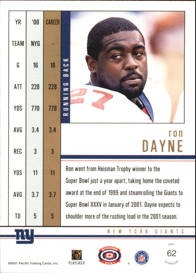 2001 Pacific Dynagon Premiere Date #62 Ron Dayne back image