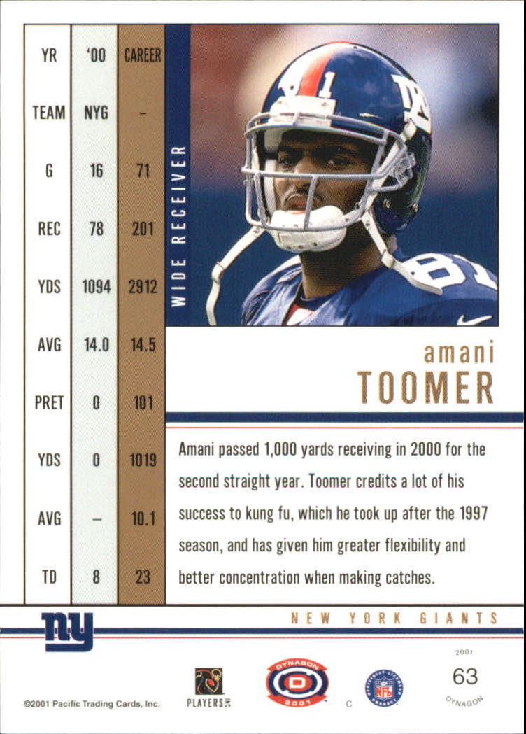 2001 Pacific Dynagon Premiere Date #63 Amani Toomer back image
