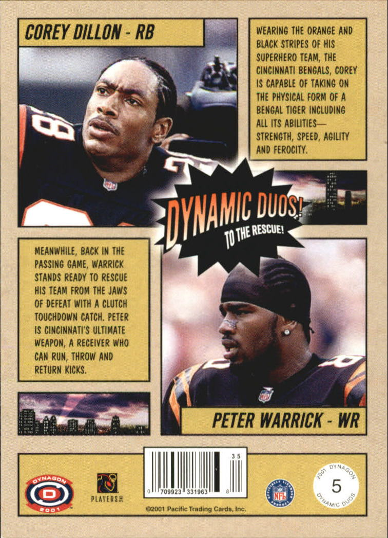 2001 Pacific Dynagon Dynamic Duos #5 Corey Dillon/Peter Warrick back image