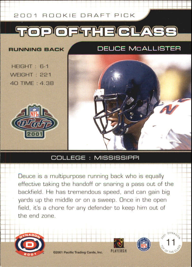 2001 Pacific Dynagon Top of the Class #11 Deuce McAllister back image