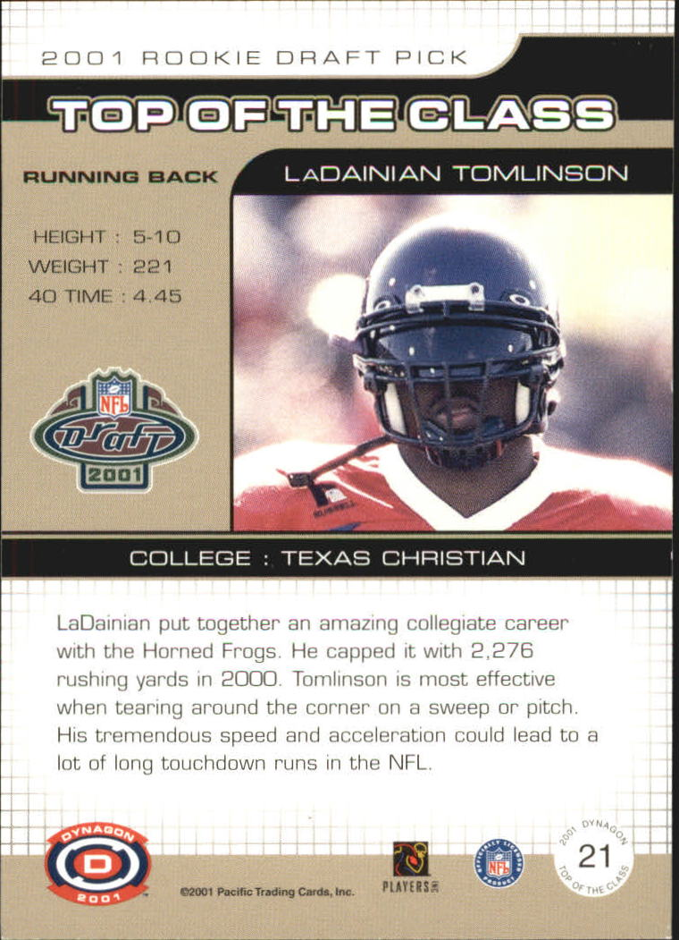 2001 Pacific Dynagon Top of the Class #21 LaDainian Tomlinson back image