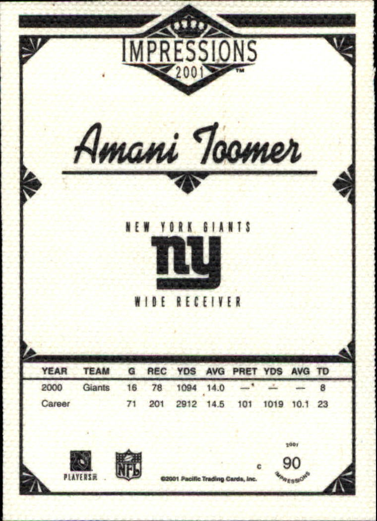 2001 Pacific Impressions #90 Amani Toomer back image