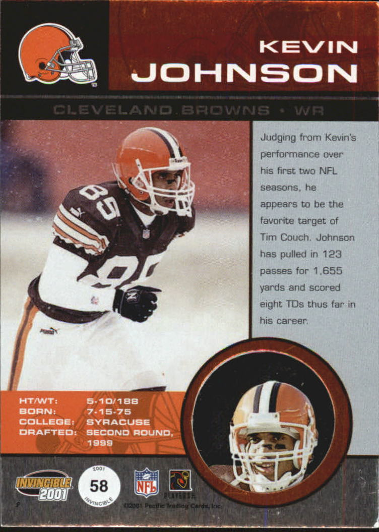 2001 Pacific Invincible #58 Kevin Johnson back image