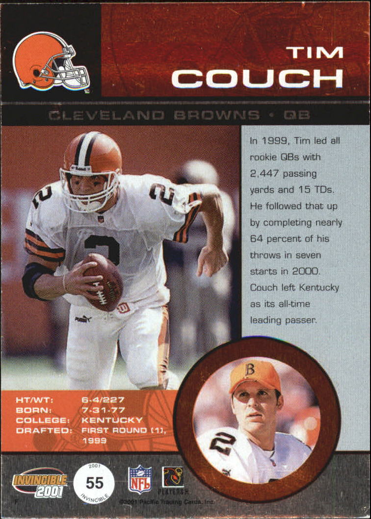 2001 Pacific Invincible Blue #55 Tim Couch JSY back image