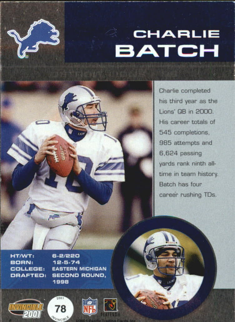 2001 Pacific Invincible Blue #78 Charlie Batch JSY back image