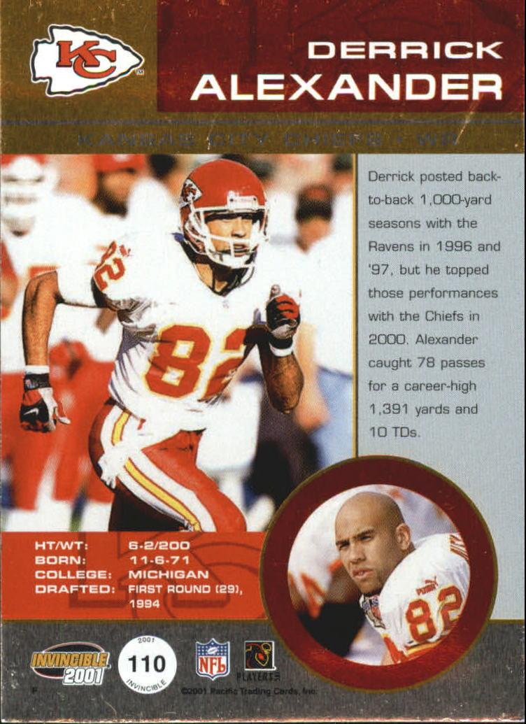 2001 Pacific Invincible Blue #110 Derrick Alexander JSY back image