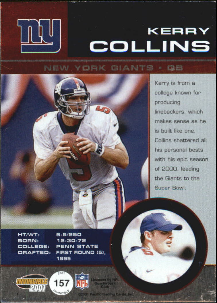 2001 Pacific Invincible Blue #157 Kerry Collins JSY back image