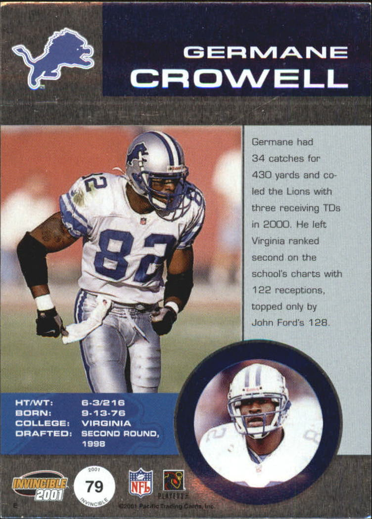 2001 Pacific Invincible Red #79 Germane Crowell JSY back image