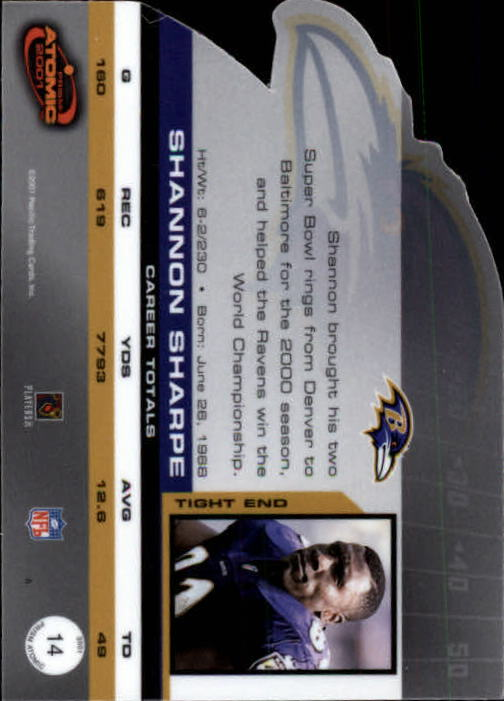 2001 Pacific Prism Atomic #14 Shannon Sharpe back image