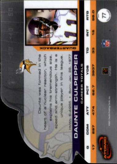2001 Pacific Prism Atomic #77 Daunte Culpepper back image