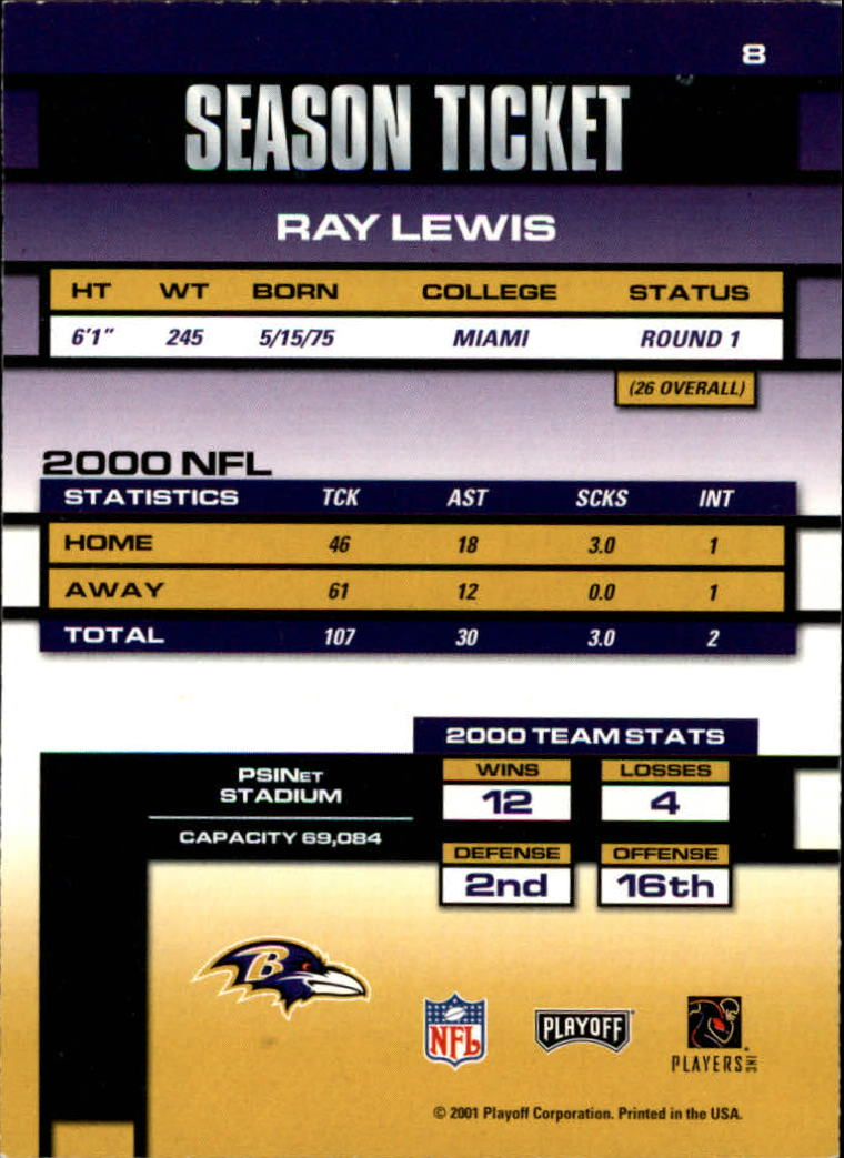 2001 Playoff Contenders #8 Ray Lewis back image
