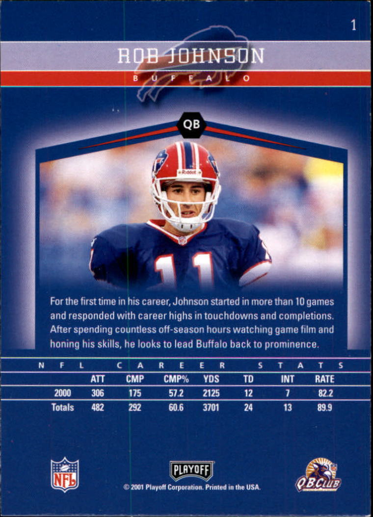 2001 Playoff Honors #1 Rob Johnson back image