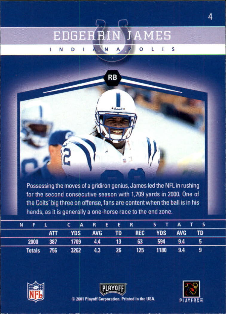 2001 Playoff Honors #4 Edgerrin James back image