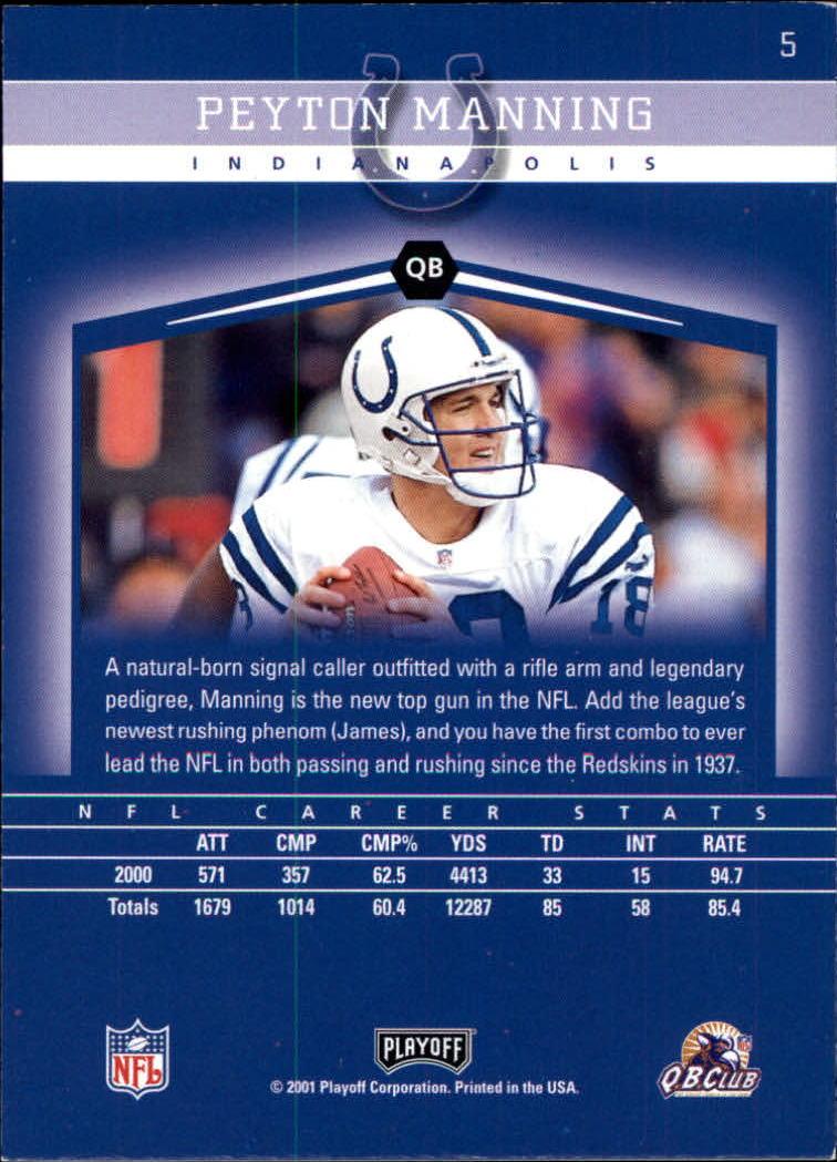 2001 Playoff Honors #5 Peyton Manning back image