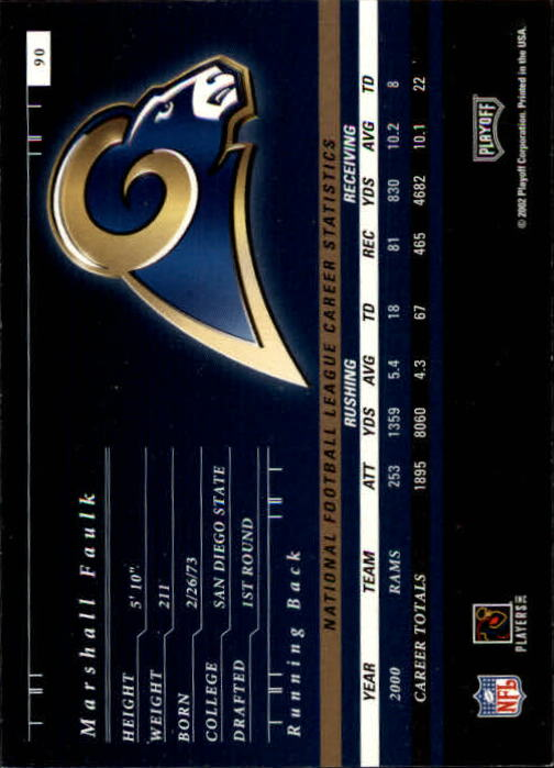 2001 Playoff Preferred #90 Marshall Faulk back image