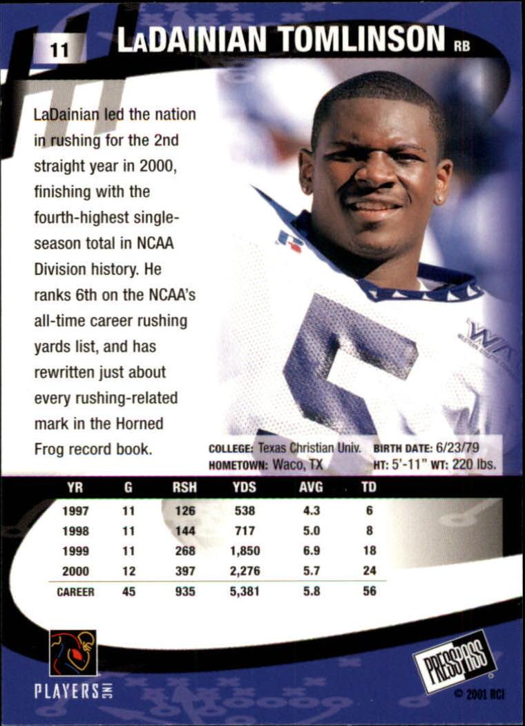 2001 Press Pass #11 LaDainian Tomlinson back image