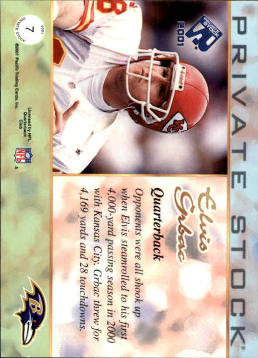 2001 Private Stock #7 Elvis Grbac back image