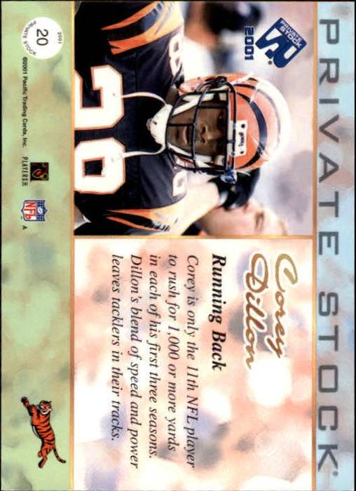 2001 Private Stock #20 Corey Dillon back image