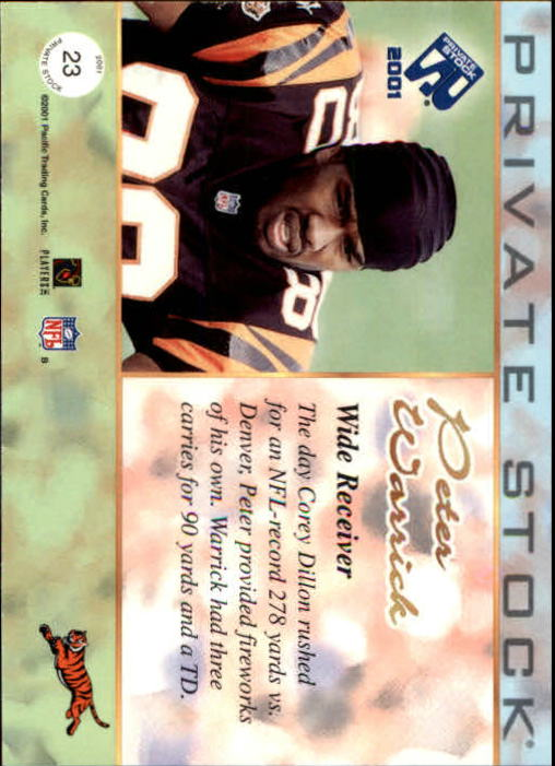 2001 Private Stock #23 Peter Warrick back image